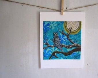 owl print, owl art, owl home decor, teal blue night moon
