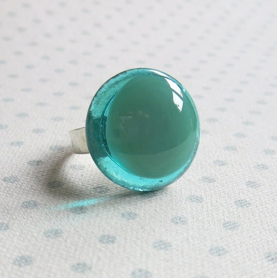 Fused Glass Ring in Mineral Green and Aqua Blue - Adjustable Handmade Cocktail Ring