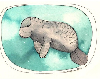 Art - Art Print - Print of Painting - Mantee Print - Manatee Art - Manatee Artwork -  Art for Nursery - 5x7 Print - Little Manatee