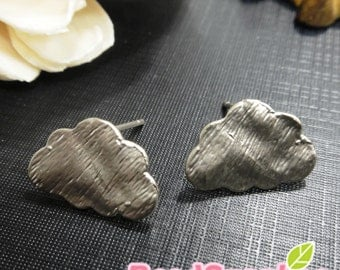 FN-ER-01056 -Matted silver plated, Petite cloud earrings, 2 pairs