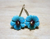 Sleeping Beauty Turquoise Flower, 14K solid gold earwire