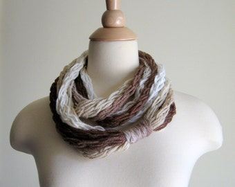 Link-Up Chain Scarflette - Coffee Shop - Super Soft Chain Scarflette, Neck Warmer, Cowl, Necklace - Creams, Browns - Autumn and Winter
