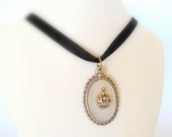 Regal Medallion - Vintage Pendant on Black Velvet Ribbon Choker