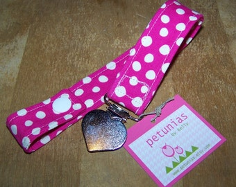Pacifier Keeper Clip Binky Holder Hot Pink Dot by Petunias