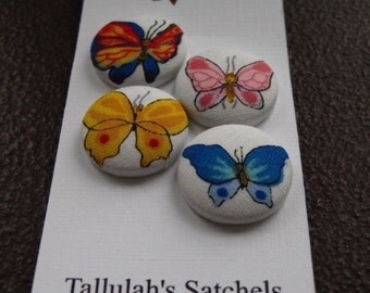 Wearable Sew On Fabric Covered Buttons - Size 36 or  7/8 inches  Butterflies