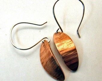 COPPER Earrings SMALL Leaves Dangly Hammered Metal Ovals on Sterling Silver Ear Wires - Rustic Handmade Hammered Copper Artisan Jewelry Gift