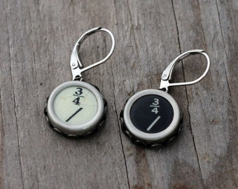 Typewriter Key  Earrings Fractions, Math Jewelry, Teacher Gift, Vintage Jewelry