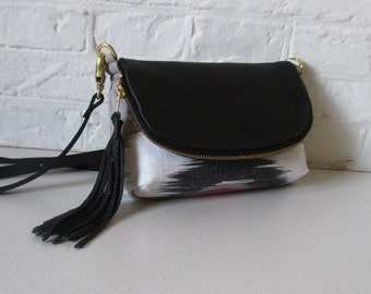 White Ikat 3-in-1 bag with black leather, cross body, clutch, or large wallet, gold, red, black, white