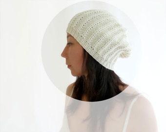 Gigi Merino Wool Slouch Hat. Hand Knit. Cream / Porcelain. Romantic Valentine. Spring / Snow. Handmade in France.