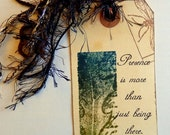 Hand Dyed & Stamped Shipping Tag - Altered Art - Bookmark - Gift Tag - FREE US SHIPPING