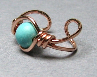 Wire Wrapped Ear Cuff 14k Rose Gold Filled or 14k Gold Fill Turquoise Dyed Howlite - your choice of over 50 gemstones or crystals