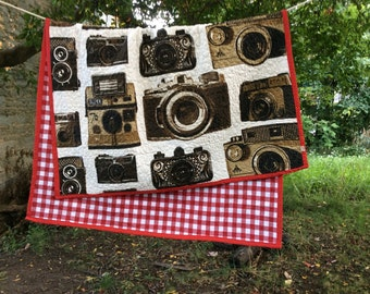 Large quilted throw -- vintage cameras -- photographer quilt