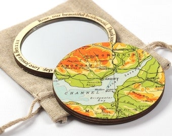 Personalised Map Location Pocket Mirror - map compact beauty mirror - bombus map mirror - Bridesmaid mirror