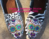 Sugar Skulls Day of the Dead hand painted TOMS with zebra and cheetah print and BLING