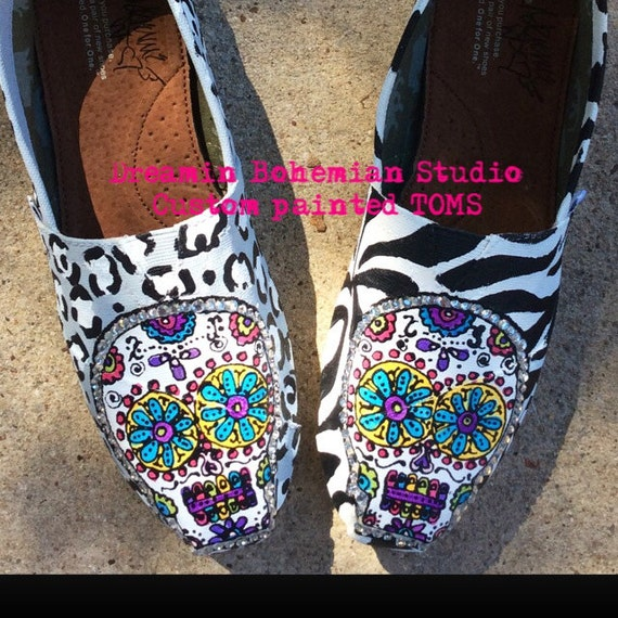 Custom Bling Shoes Hippie Boho Shoes Sugar Skull Shoes for