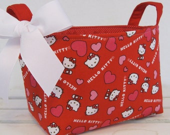 Fabric Storage Bin Basket Organizer Container - Made with Hello Kitty Valentine Fabric - PERSONALIZED/ Name Tag Available