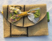 Wholesale order for 10 Clutches with swivel hook clip and velcro closure burlap and reclaimed fabrics