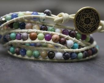 Mixed Gemstone Wrap Bracelet 4x