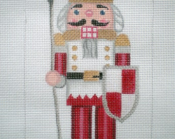 """Handpainted Needlepoint Canvas 10"""" Stand -up Gold Crown Nutcracker"""