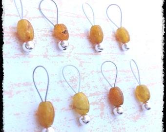 Snag Free Stitch Markers Small Set of 8 - Malaysia Jade  -- K39 -- Up to size US 8 (5.0mm) Knitting Needles