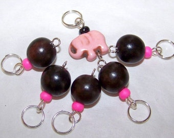 Hand Made Stitch Markers -- Ebony Wood and Pink Elephant