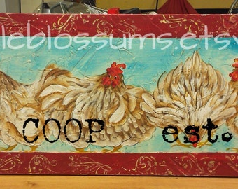 11 X 36 Chickens Hens Art on Rustic Wood Personalized