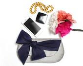 Silver metallic clutch, Navy blue wedding, Bridesmaid gift, Bridal Clutch, Foldover clutch, Envelope clutch, Wedding gift, Nautical wedding