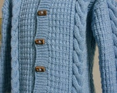Little Boy Blue Cable Coat -Hooded Jacket-Blue Duffle Coat-2 year old Size-Ready to Ship