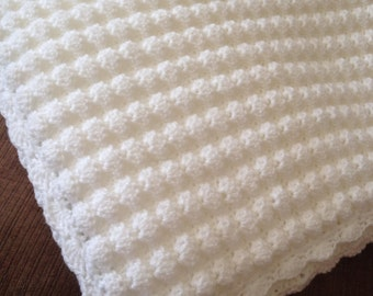 BABY BLANKET/AFGHAN/Crochet Pure White Baby Afghan-Crochet Baby Blanket-Receiving Blanket-Baby Shower Gift-Ready to Ship