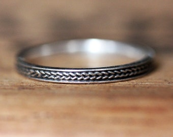 Braided wedding band, wheat wedding ring, oxidized wedding band, rustic silver wedding ring, silver braided ring, stacking ring, custom made