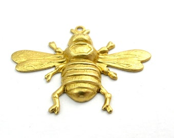 Brass Buble Bee Charms (4X) (M543)