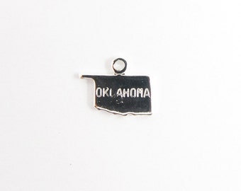Engraved Tiny SILVER Plated on Raw Brass Oklahoma State Charms (2X) (A435-B)