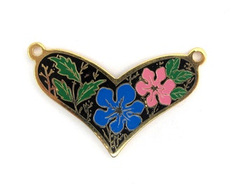 Vintage Pink and Blue Hibiscus Flowers on Black Cloisonne Enamel Heart Pendants (2X) (E574)