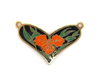 Vintage Orange Hibiscus Flower on Black Cloisonne Enamel Heart Pendants (2X) (E575)