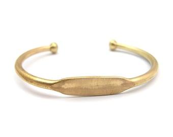 Raw Brass Engraving Cuff Bracelet (J610-A)