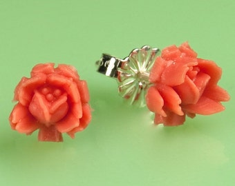 Vintage Small  Coral  Rose Button Post Earrings
