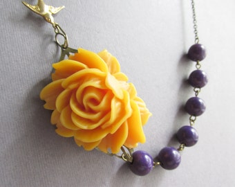 Statement  Necklace,Mustard Flower Necklace,Purple Jewelry,Bridesmaid Jewelry Set,Fall Jewelry,Beadwork,Gift For Her(Free matching earrings