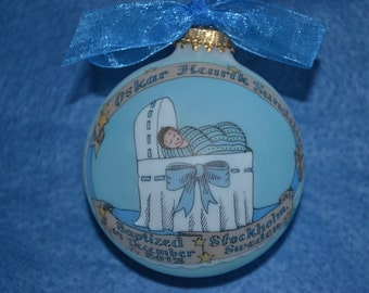 Baby Boy Baptism Ornament, Baby in the Bassinet Personalized, Handpainted, and totally Original, WITH Display Stand