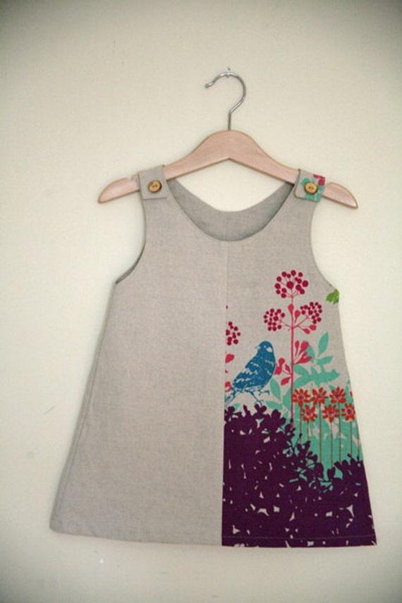 Linen Panel Dress - Blue bird 2/3yrs