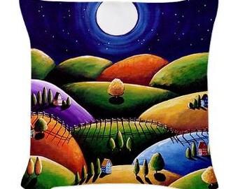 Peace on Earth Folk Art Pillow - Woven Throw Pillow Whimsical Art by Renie Britenbucher