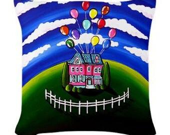 Up House Balloons Fun Folk Art Pillow - Woven Throw Pillow Whimsical Art by Renie Britenbucher
