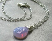 Lilac Periwinkle Opalite Pendant, Silver Wire Wrapped Briolette, Optional Necklace - Color Changes Blue, Pink, Purple - October Birthday