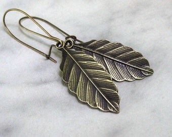 Bronze Leaf Dangle Earrings, Antique Brass Earwires, Nature Inspired Woodland Jewelry... Earwire Style Choice