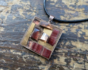 Copper and Maroon Mosaic Pendant