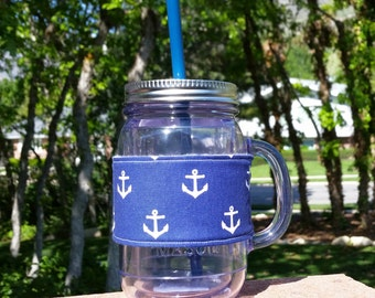 FREE SHIPPING UPGRADE with minimum -  Mason Jar cozy / mason jar sleeve / mason jar drink holder / fabric mason jar wrap -- Anchors
