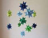 Baby Mobile Hanging Origami Stars -'Ursa Major' Map w Greens