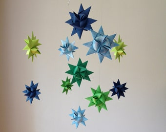 Baby Mobile Hanging Origami Stars -'Ursa Major' Map w Greens