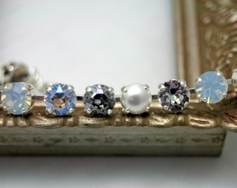 Captured Moonlight Swarovski Elements Tennis Bracelet Rhinestone 8mm White Pearl Patina Vintage Sterling Silver Plated