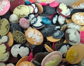25pc assorted mix of cameo cabochons, cute cab grab bag
