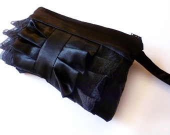 Black Lace and Satin Ruffle Wristlet
